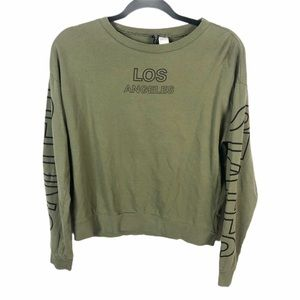 Divided by H&M Army Green Long Sleeve Graphic Tee